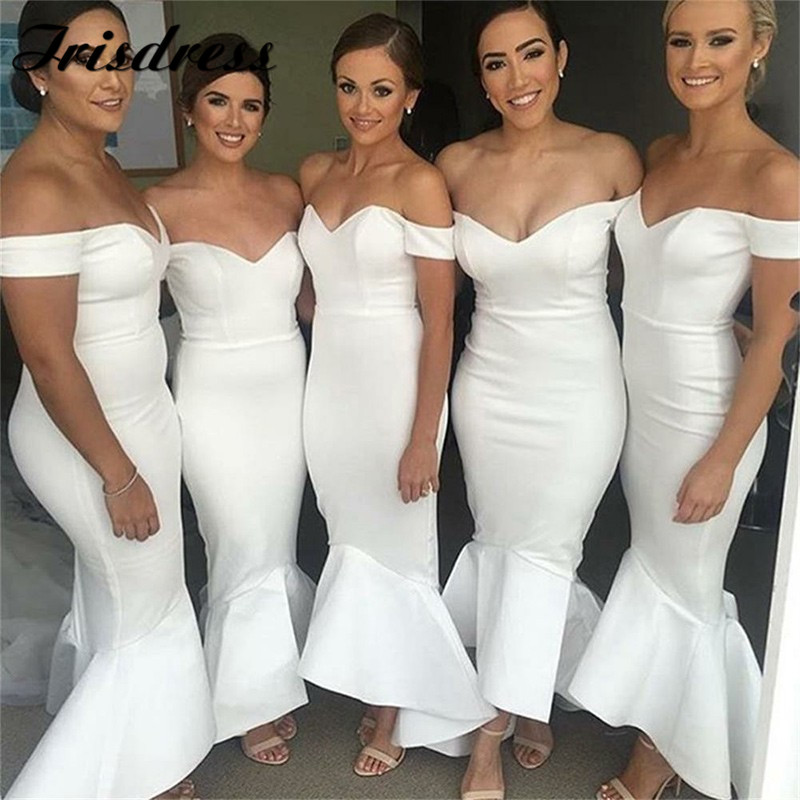 Mermaid Satin Bridesmaid Dresses 2019 Boat Neck Off The Shoulder Elegant Maid Of Honor Dress Cheap Vestidos De Fiesta De Noche