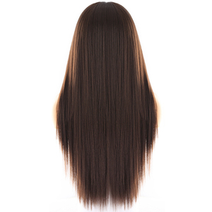Image 5 - Synthetic Lace Front Wig For Women Medium Brown Color X TRESS Long Yaki Straight Hair Wigs Heat Resistant Fiber Natural Hairline