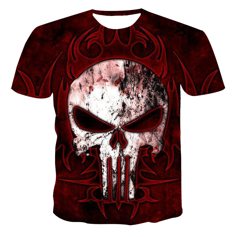 New men's skull T-shirt fashion new summer men's short-sleeved T-shirt casual 3D horror printed breathable T-shirt men's Complet