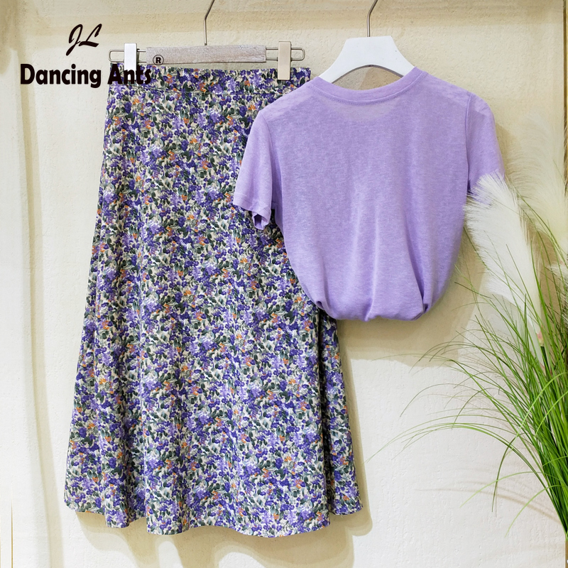 Women Sets Short Sleeve O-neck T-shirts + Elastic High Waist Chiffon Skirts Two Piece Sets Female 2 Piece Outfits 2020 Summer