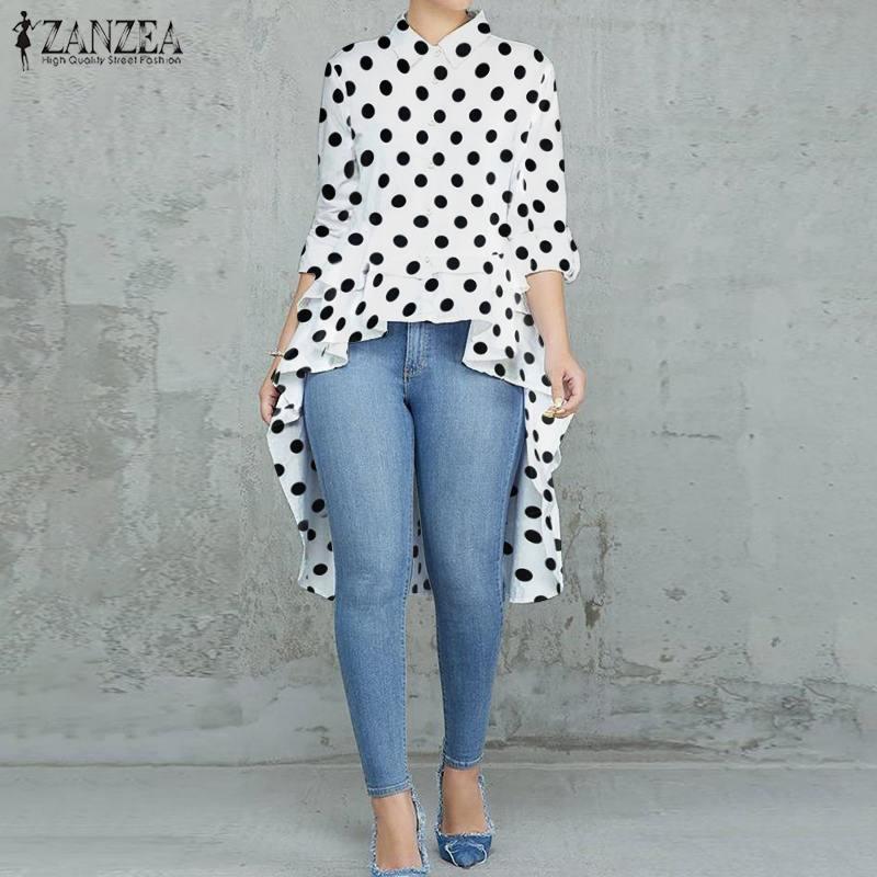 Plus Size Womens Multi-color Polka Dot Casual Summer T Shirt Tops Lapel Blouse
