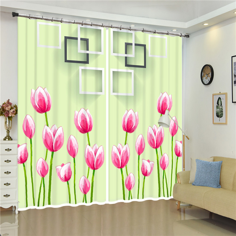 3D pink flowers Curtains For Bedroom Kids Living Room Drapes Fabric Polyester Set with Hooks include 2 Panels