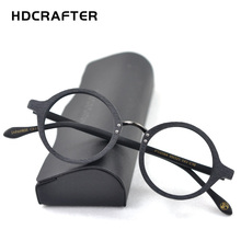 HDCRAFTER Optical Glasses Frame Men Round Wood Clear Lens Eyeglasses Frames Prescription Recipe Men Reading Glasses Spectacles