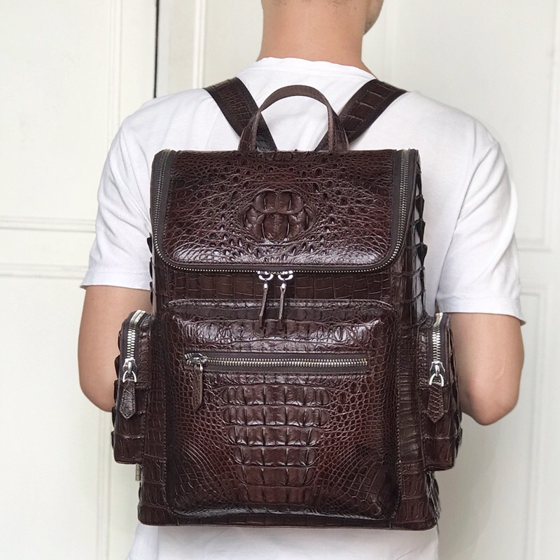 Casual Style Genuine Crocodile Skin Zipper Closure Businessmen Laptop Backpack Authentic Alligator Leather Male Travel Back Pack