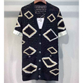 Cosmicchic 2020 Women Hollow Out Short Sleeve Knitted Cardigan V Neck Single Breasted High Quality Geometric Long Sweater Tops