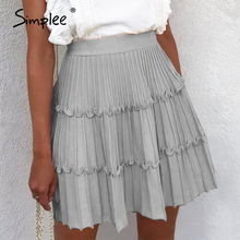 Simplee elegante saia de malha das mulheres cintura alta uma linha plissado saia listra feminino outono inverno doce rosa senhoras saias 2019