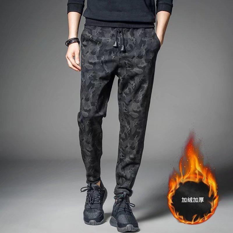 Plus Velvet Black Camouflage MEN'S Pants Labor Suit Work Pants Winter Thick Loose-Fit Wear And Dirt