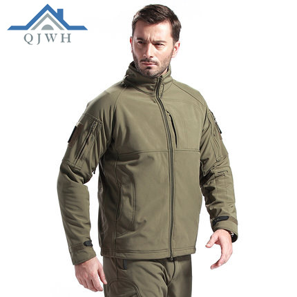 Outdoor Shark Skin Commander Raincoat Jacket Autumn And Winter Men Soft Cover Windproof Waterproof Camouflage Coat