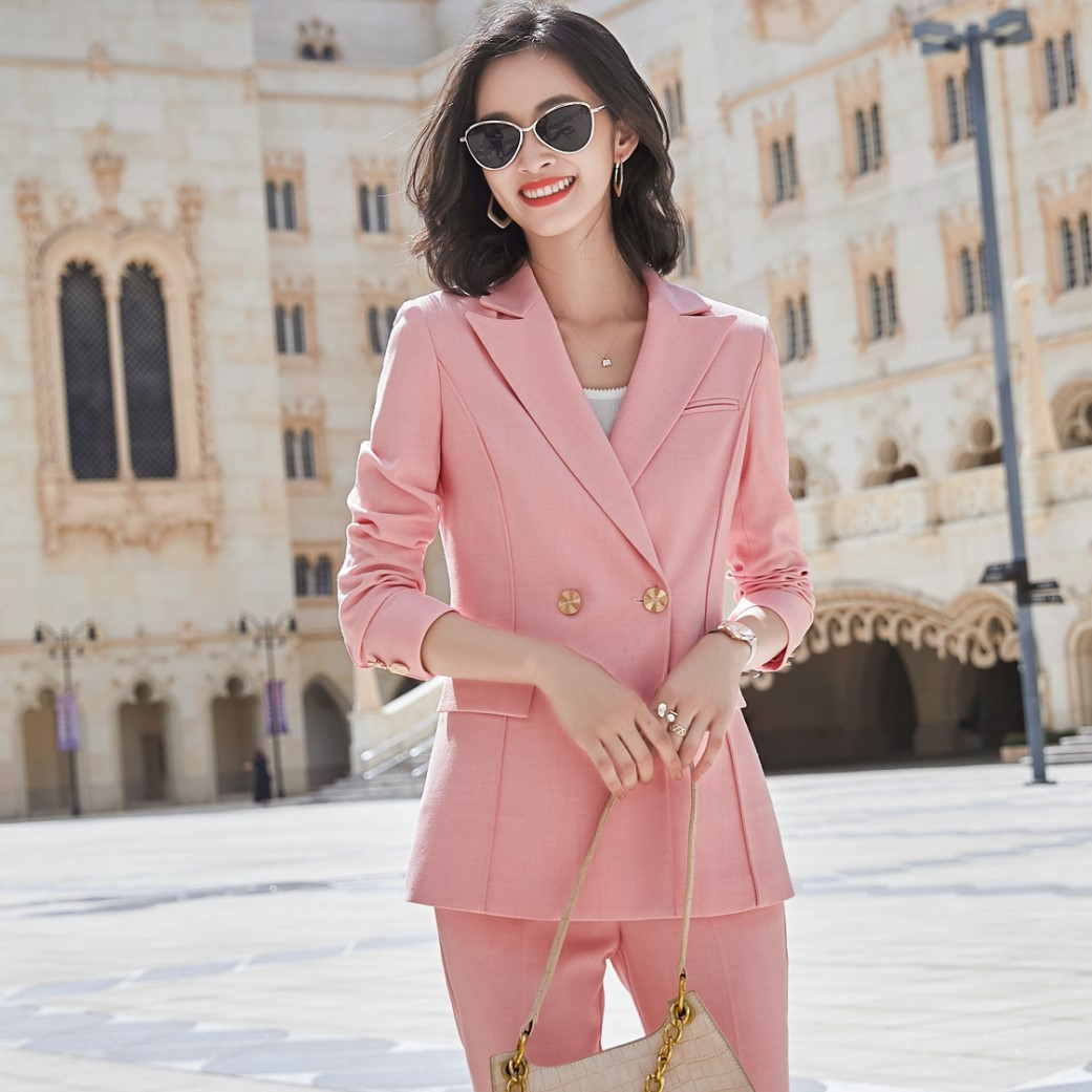 Plus size women's temperament business office women's pants suit Autumn and winter double-breasted female jacket Hotel overalls