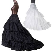 Bridal Wedding Dress Trailing Skirt Large 3-layer Ruffled Petticoat Elastic Waist Black White Lolita Petticoats Slip Lining Line(China)