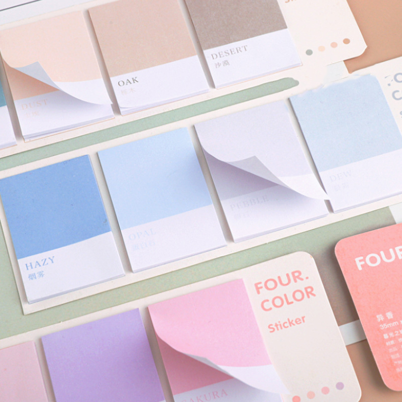 80Sheets Cute Simple Memo Pad Solid Color Memo Pad Self-Adhesive N Times Sticky Notes For Kids Girls School Supplies Stationery
