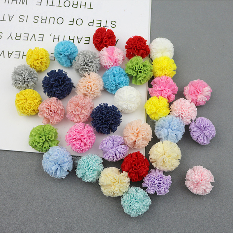 20 - 50Pcs 25mm Elastic Force Net Flower Ball DIY Scrapbook Paste Kids Headwear Hairpin Brooch Crochet Toy Jewelry Accessories