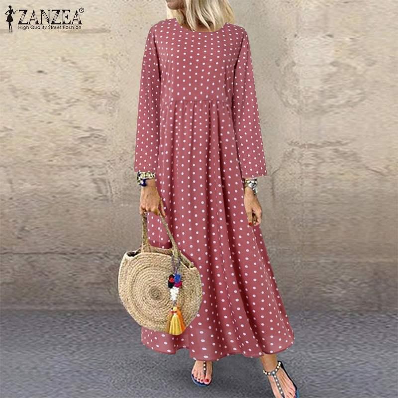 Autumn Vintage Polka Dot Vestidos ZANZEA 2019 Women Printed Party Sundress Casual Long Sleeve Long Maxi Shirt Dress Famele Robe