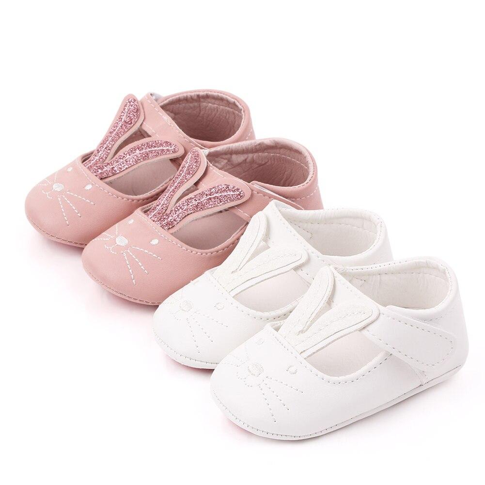 Nouveau bébé fille le premier marcheur chaussures nouveau-né mignon lapin oreilles PU doux princesse chaussures anti-dérapant fond souple bébé chaussures