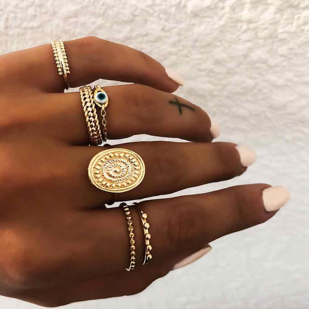 DIEZI שונה סגנון ירח צלב Knuckle משותף טבעות זהב נשים ריינסטון הולו מתוך גיאומטרי אצבע טבעות תכשיטים