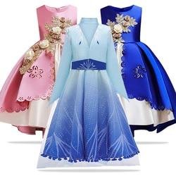Elegant Girls Dress Princess Elsa Dress for Baby Girls Wedding Gown Kids Dresses for Girls Birthday Party Dress Children Costume