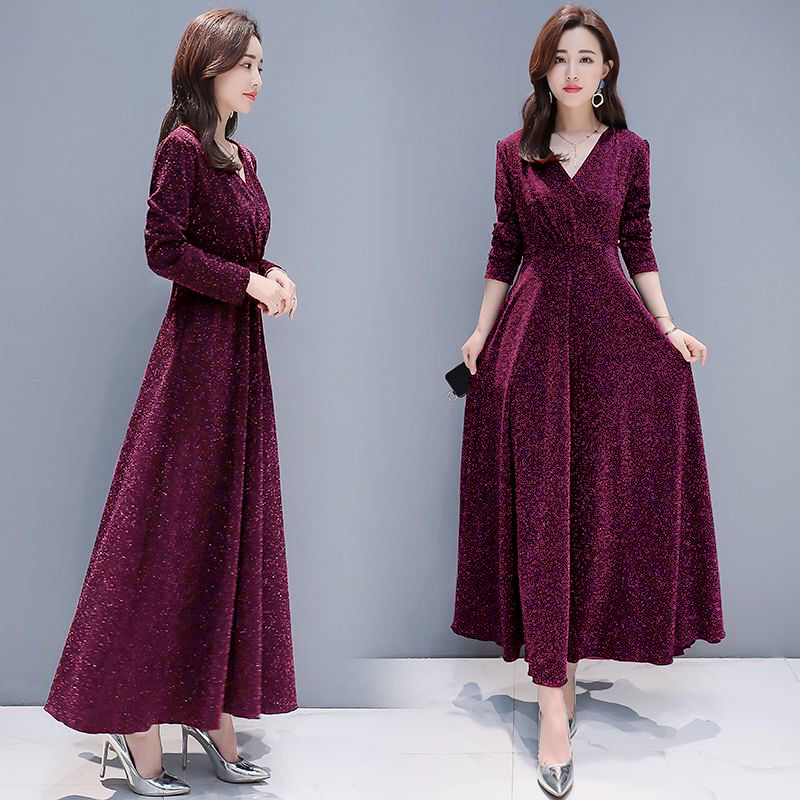 ALABIFU <font><b>Autumn</b></font> Winter Dress Women 2019 Casual Vintage Ball Gown Big pendulum Dress Plus Size <font><b>5XL</b></font> <font><b>Sexy</b></font> Long Party Dress Vestidos image