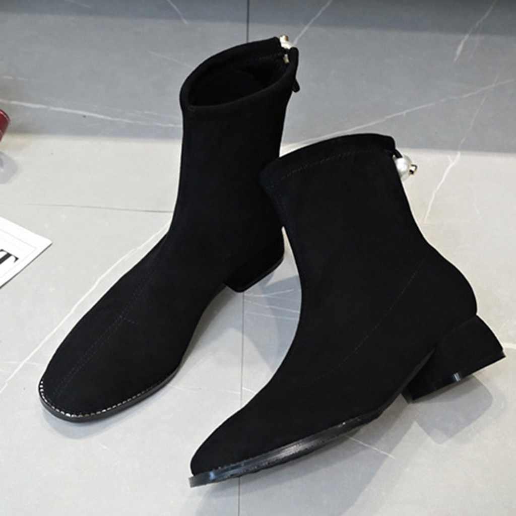 รองเท้าผู้หญิงแพลตฟอร์ม Martins ฤดูหนาวผู้หญิงลื่นบน Stretch Casual Elegant รองเท้า Hoof Retro Retro Pearl รองเท้า WEDGE Snow รองเท้า