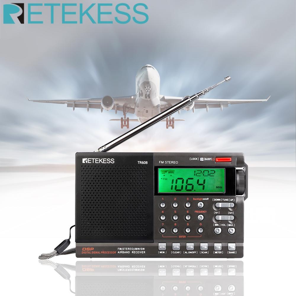 alarm clock Retekess TR608 FM / MW/ SW / Air Multi Band Radio Portable Digital Radio Speaker with LCD Display with Clock Alarm Sleep timer (1)
