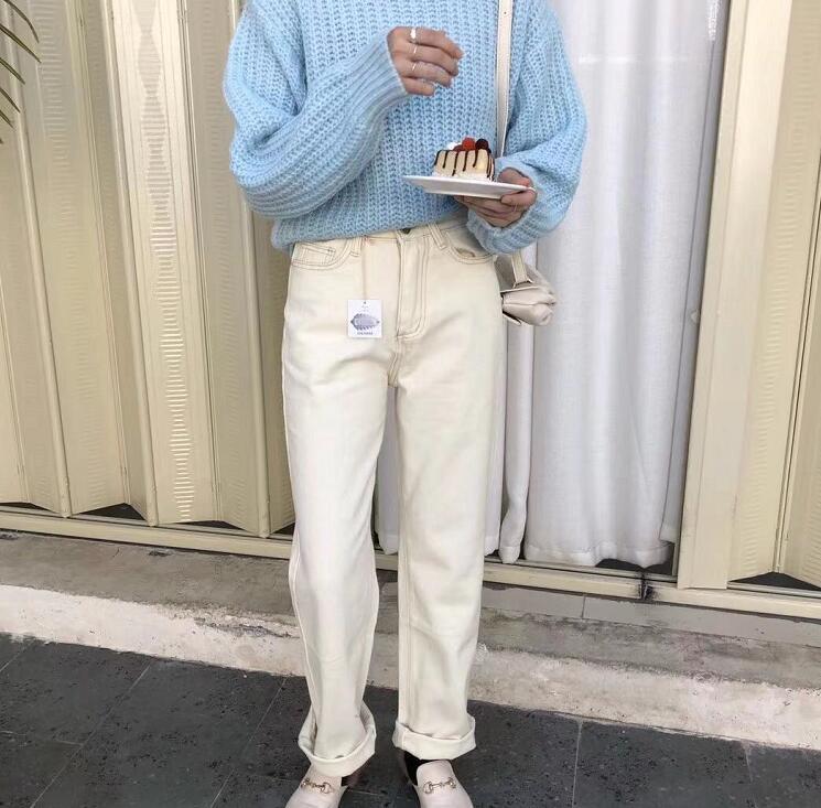 Toppies Mom Jeans Pants Streetwear High-Waist Korean Women Denim Trousers Spring White