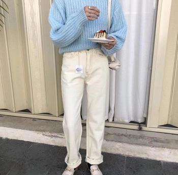 2020 wiosenne białe dżinsy kobiet spodnie dżinsowe spodnie z wysokim stanem koreański dżinsy dla mamy Streetwear tanie i dobre opinie toppies Poliester Pełnej długości 111401 JEANS WOMEN Zmiękczania Wysoka Zipper fly NONE Proste Luźne light Winter 2019