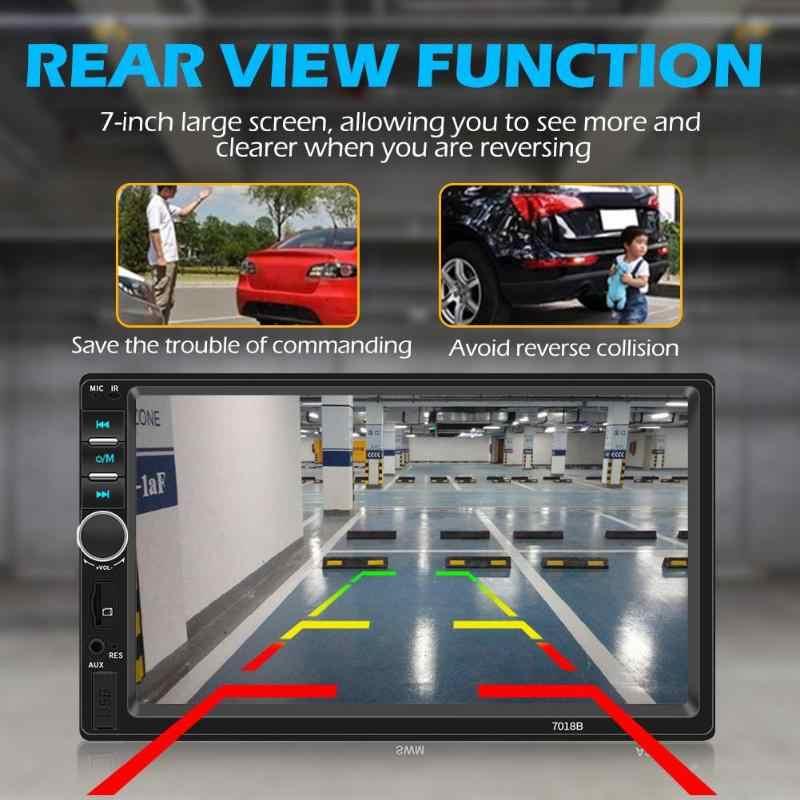 Samochodowy zestaw stereo bluetooth AUX USB TF FM radioodtwarzacz 7 Cal ekran dotykowy czarny Android Apple uniwersalny SWM 7018B podwójny 2 DIN
