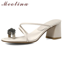 Meotina Rhinestone Genuine Leather High Heel Slippers Flip Flops Women Shoes Square Toe Block Heel Slides Summer Sandals Lady 40 sequins women slippers closed toe bling gladiator sandals flip flops glitter flats lady slides wedding shoes eyes sandalias 40