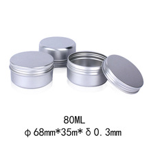 50pcs 80g Empty 68*35mm Silver Round Aluminum Tin Cans Cosmetic Cream Jar Screw Thread Lid Pot Makeup Hair Wax Case Container