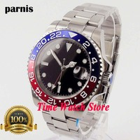 Parnis 40mm black sterial dial GMT blue red bezel sapphire glass Automatic movement men's watch 443 relogio masculino