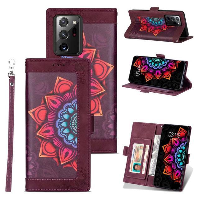 Aleta carteira caso para galaxy note 20 ultra flor couro kickstand macio tpu volta telefone capa para samsung galaxy note 20 s20 s10
