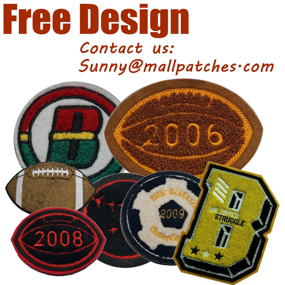Colorful Custom Chenille Patches Letters Patches For Hoodie Stick-on Backing Name Chenille Patches