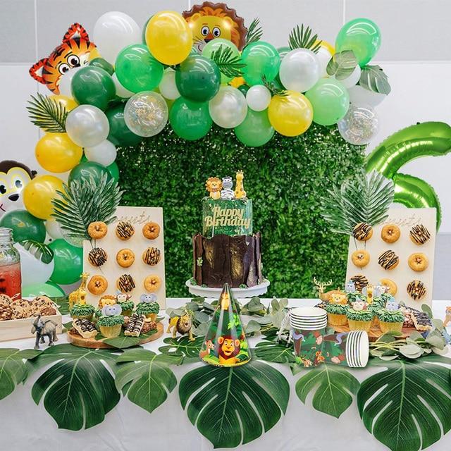 WEIGAO 정글 동물 생일 파티 일회용 식기 숲 친구 사파리 동물원 테마 종이 컵 플레이트 베이비 샤워 용품