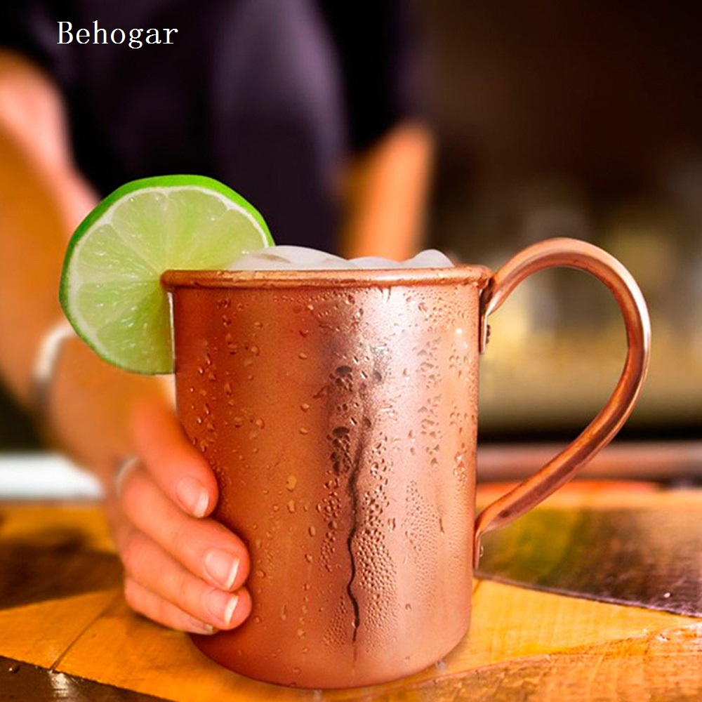 Behogar Pure Copper 415ml Mug for Chilled Beer Iced Coffee Tea Vodka Gin Rum Tequila Whiskey Mixed Drinks <font><b>Coffe</b></font> <font><b>Cups</b></font> Mugs image