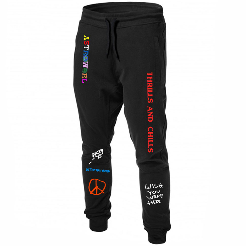 Quality Fleece Trousers TRAVIS SCOTT ASTROWORLD Letter Printed Women Men Jogging Pants Hip Hop Streetwear Men SweatpantS