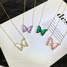 Transparent crystal Butterfly Necklace Women Jewelry Charm Crystal Pendant Girl Gift