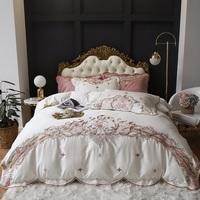 Luxury White Pink Red 100S Egyptian Cotton Flowers Embroidery European Palace Bedding Set Duvet Cover Bed sheet/Linen Pillowcase