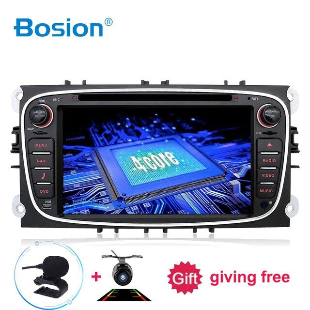 Bosion 2 דין אנדרואיד 10 רכב נגן DVD GPS Navi USB RDS SD WIFI BT SWC עבור פורד מונדיאו פוקוס גלקסי אודיו רדיו סטריאו ראש יחידה