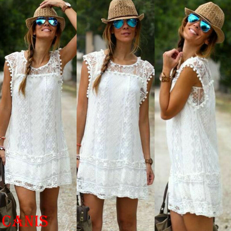 2020 Summer Lady Mini Dress Lace Flare Sleeveless Short Dresses For Women Solid White Hollow Out Loose Casual Beach Dress Women