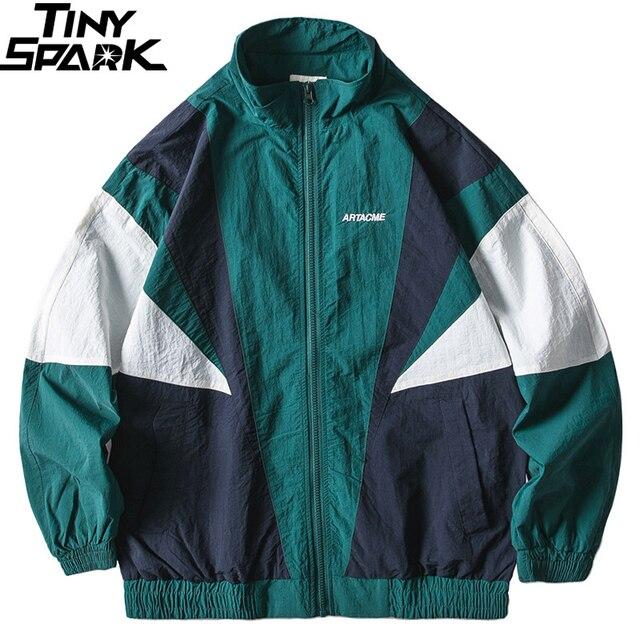 2019 Erkekler Hip Hop Ceket Rüzgarlık Retro Streetwear Renk Blok Patchwork Ceketler Ceket Sonbahar Harajuku Zip eşofman üstü Rahat