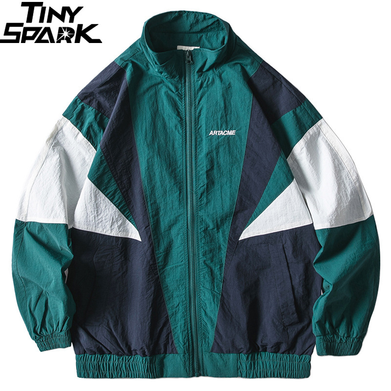 2019 Men Hip Hop Jacket Windbreaker Retro Streetwear Color Block Patchwork Jackets Coat Autumn Harajuku Zip Track Jacket Casual