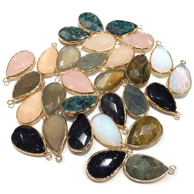 Moda natural pedra corte rosto pingente gota de água forma requintado pingentes para fazer jóias diy colar acessórios 18x25mm