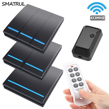 SMATRUL push Wireless smart Switch Light 433Mhz 100M RF Remote Control 110V 220V 2000W Wall Panel button Ceiling Lamp 1/2/3 gang