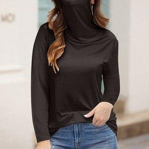 Женская однотонная блузка с маской на лице, свободная водолазка, повседневный осенний пуловер с длинным рукавом