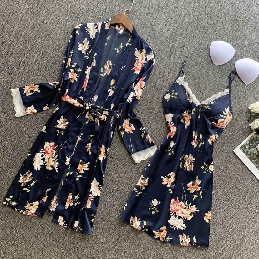 2020 Spring Summer Women Silk Robe & Gown Sets Pyjama Flower Print Satin Nightdress+Robe Sleeveless Pijama With Chest Pads
