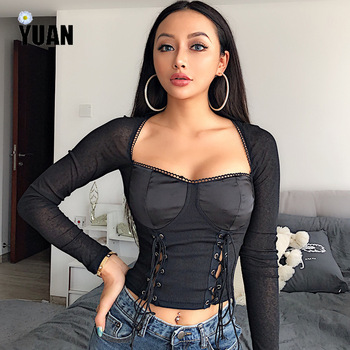YUAN Sexy long sleeve blouse tie knot front hollow out autumn 2020 deep silk v-neck cropped slim t shirt crop  top checked knot front shirt