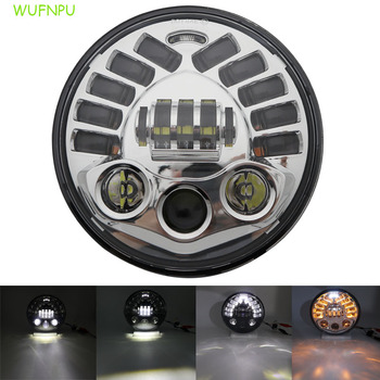 """7""""  With Turn SignalRound Motorcycle LED headlight70W / 50W Projector  Hi/Lo Beam LED headlight"""