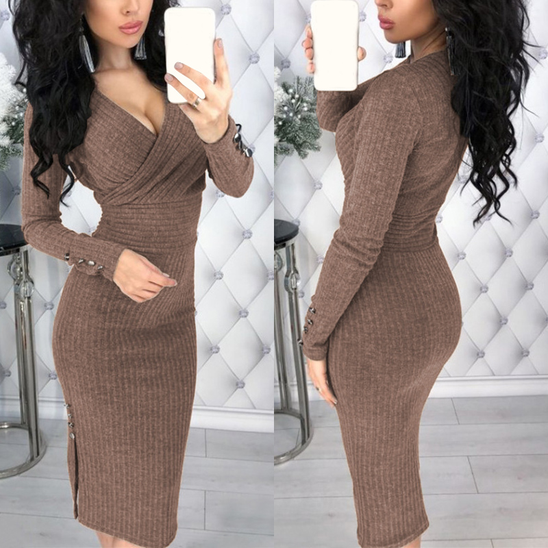 Newly 2019 Women Long Sleeve <font><b>Sexy</b></font> <font><b>Deep</b></font> <font><b>V</b></font> Neck Solid Color Casual <font><b>Dress</b></font> Knitted <font><b>Dress</b></font> Autumn Winter Female Temperament <font><b>Dresses</b></font> image