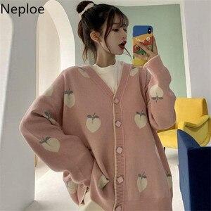 Neploe Sweater Cardigan Cute Pink Coat Women Peach Cardigans Knitted Oversized Jacket 2020 Korean Autumn Long Sleeve Pull Femme(China)
