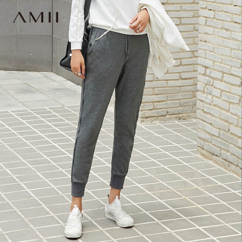Amii Minimalist Elastic Pants Summer Casual Solid High Waist Female Sport Pants 11765550