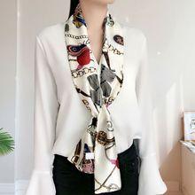 145X15CM Весна японский шарф двусторонняя печать длинный шелковый сатин для женщин бизнес вечеринки девочки шейный платок шарфы волос